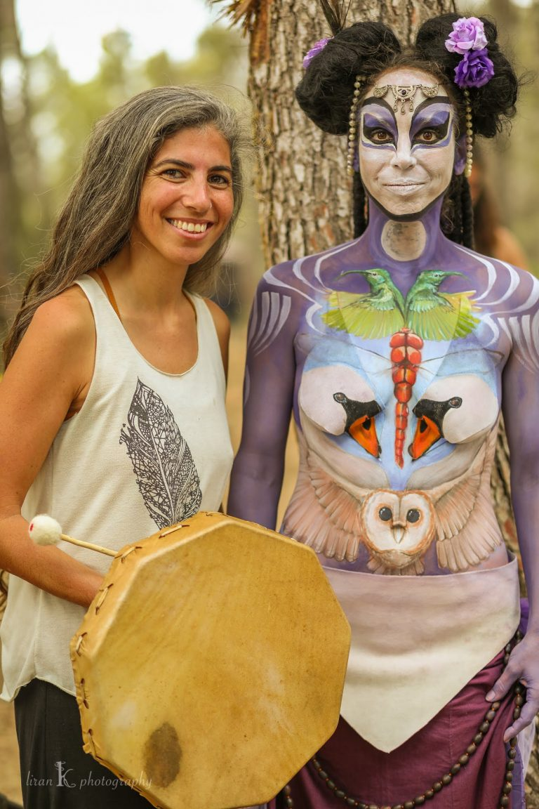 Live art Bodypainting and singing performance- Meditasao festival, Israel